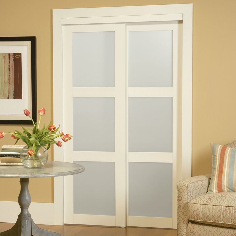 Reliabilt Off-White 3-Lite Frosted Glass Sliding Closet Interior Door ( Common: 48-In X 80-In; Actual: 48.0-In X 78.68-In & Shop Masonite Solid Core 4-Lite Frosted Barn Interior Door (Common ... Pezcame.Com