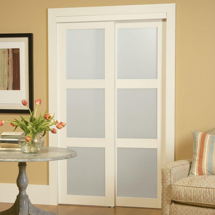 Interior frosted glass door - Shop Reliabilt 3 Lite Frosted Glass Sliding Closet Interior Door Common 48