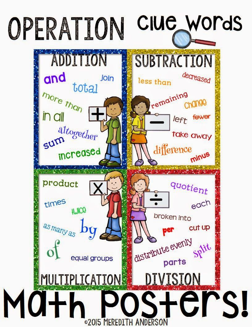 New FREEBIE up at TpT! Math Operations Posters! | Word problems ...