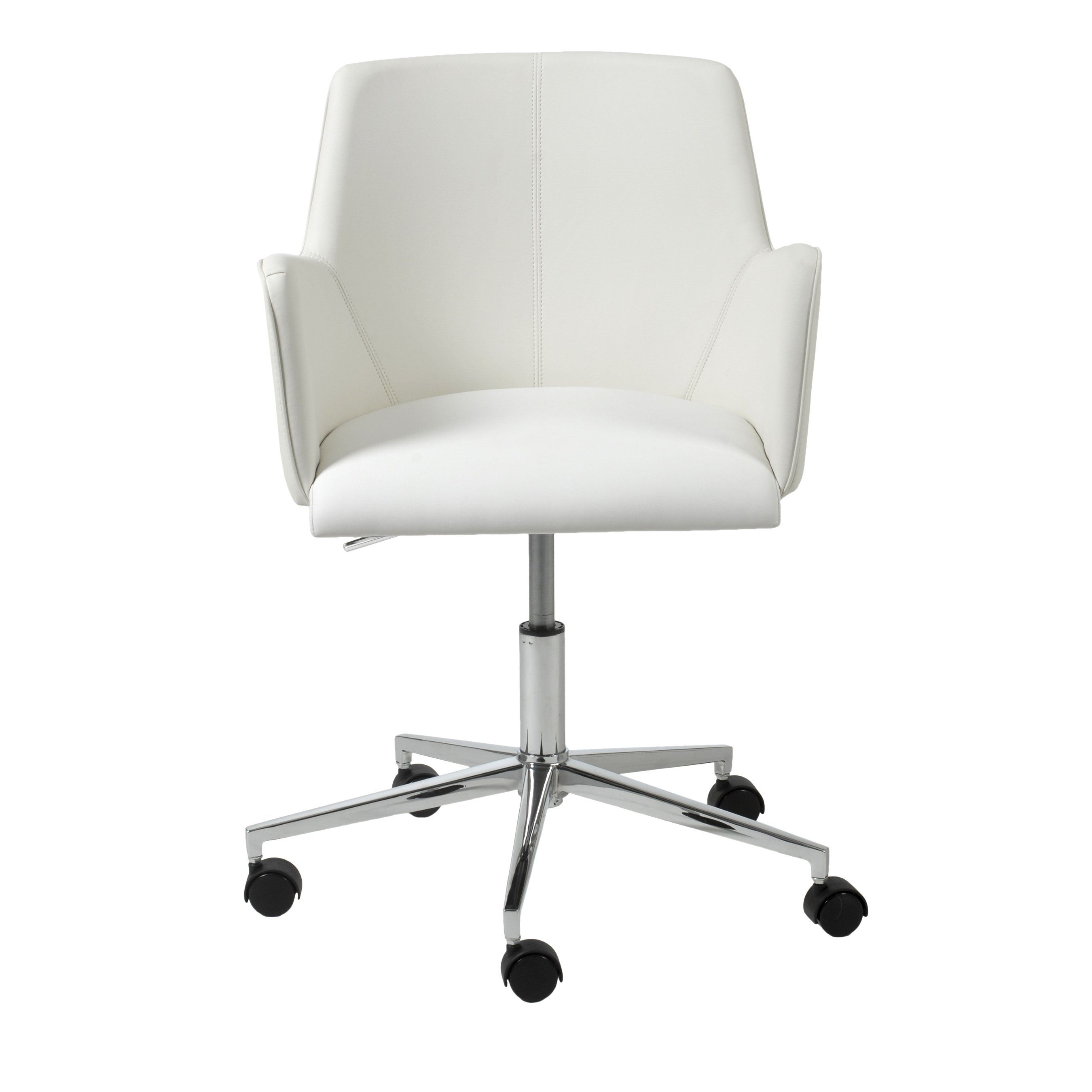 Sunny Office Chair In White With Chromed Steel Base Desk Chair