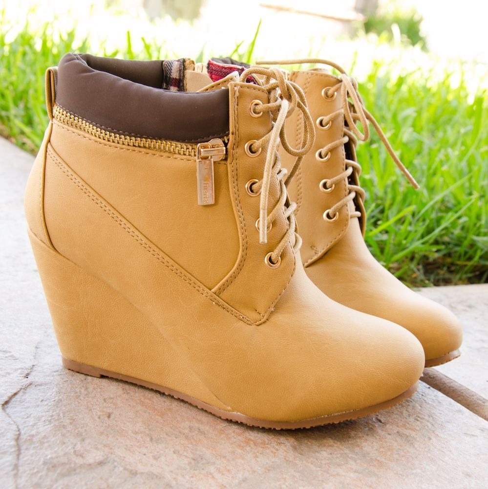 Women s Ankle Boots Faux Work Boot Design Lace Up Almond Toe Wedge Booties  New  Boots  workboot  Booties  ankleboots 23b0d871d0