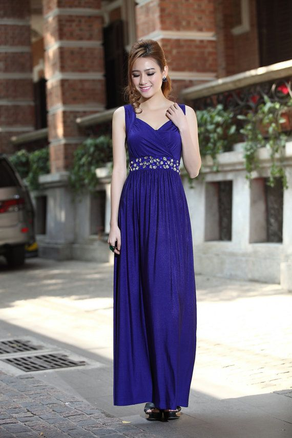 Royal Blue bridesmaid dress beaded Maternity Dress Elegant Formal ...