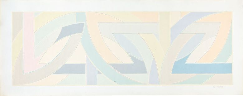 Frank Stella (B. 1936), York Factory I. Image 13½ x 40¼ in. (343 x 1029 mm.), sheet 13⅜ x 44½ in. (340 x 1130 mm). Estimate $2,500-3,500. This lot is offered in First Open  Editions, 14-29 July, Online