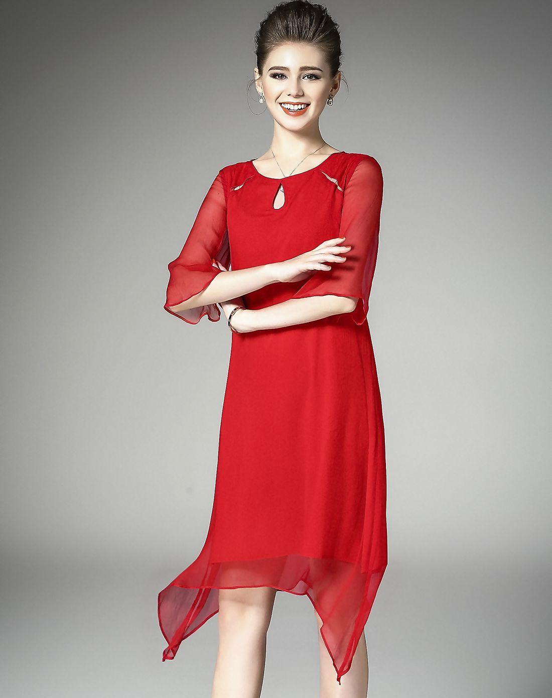 Adorewe vipme swing dressesdesigner elenyun red bell sleeve