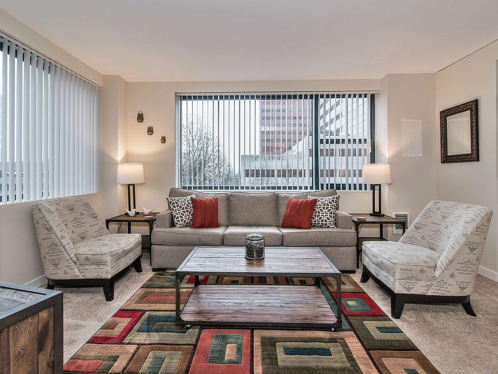 Living Room Downtown Portland apartment rental