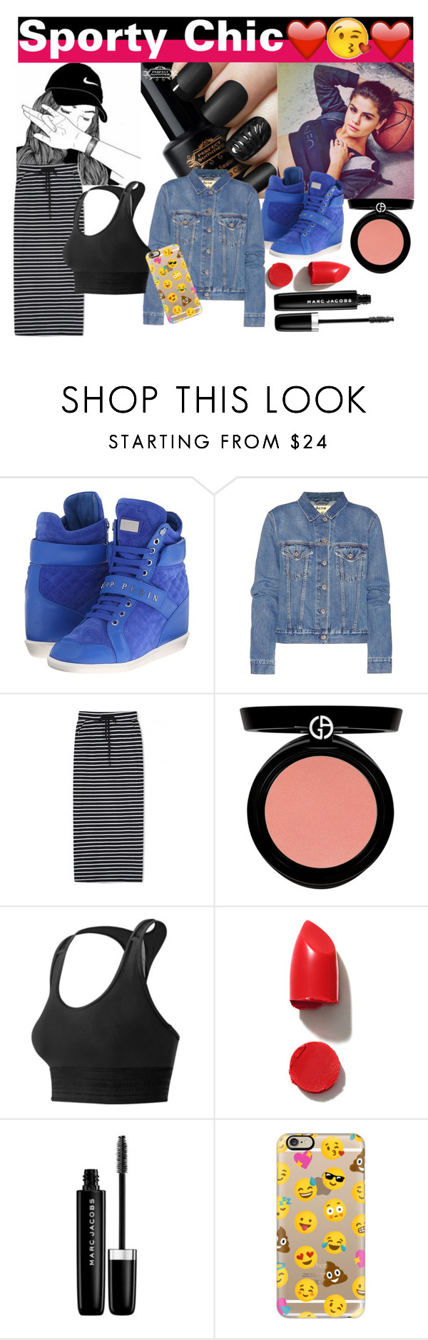 """""""Sporty Chic"""" by emilyemilie ❤ liked on Polyvore featuring adidas NEO, Philipp Plein, Acne Studios, WithChic, Armani Beauty, New Balance, NARS Cosmetics, Marc Jacobs and Casetify"""