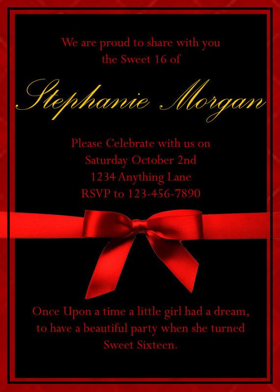 red black and gold elegant sweet 16 birthday party invitations 4x6