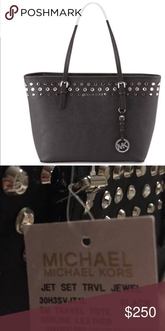 1d81c01459da Michael Kors Jet Set Jewel Black Leather Tote bag New with tag.100%  authentic