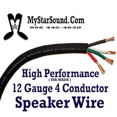 12 Gauge 4 Conductor Speaker Wire Sold Per Foot Usa Made By Mystarsound 1 39 High Performance Speaker Wire Made Sound Stage Conductors Musical Instruments