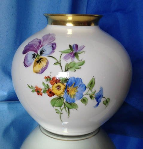 Independent Studio Artist A Kpm Vase In White With Pansy Floral