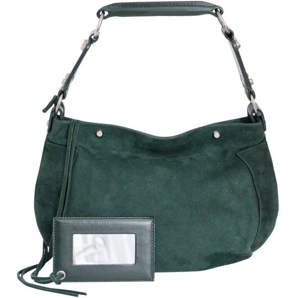 Pre-owned Balenciaga Soft Suede Leather Handbag Shoulder Bag ($265) ❤ liked on Polyvore featuring bags, handbags, shoulder bags, dark green, suede leather handbags, shoulder strap bag, suede purse, balenciaga and pre owned handbags