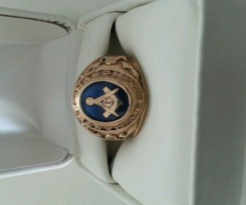 Vintage 10K Gold 3rd Degree Master Mason Blue Lodge Class Ring