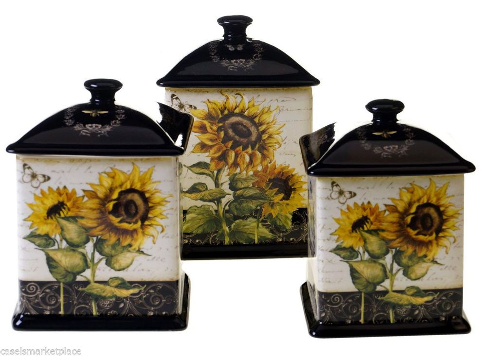 certified international sunflowers 3 canister