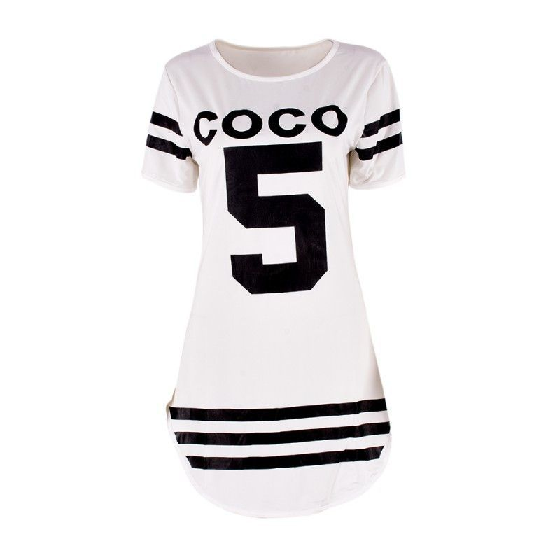 Fashion Women Summer Letter Print COCO 5 Dress Slim Short Sleeve ...