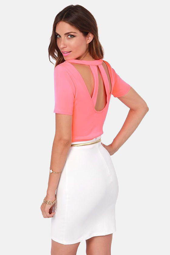 GUESS Womens Crop Top Neon Pink Size Large L Scuba Back-logo Mock-neck 170 for sale online   eBay