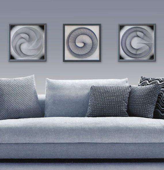 zen wall art set 3d abstract string art sacred geomerty silver