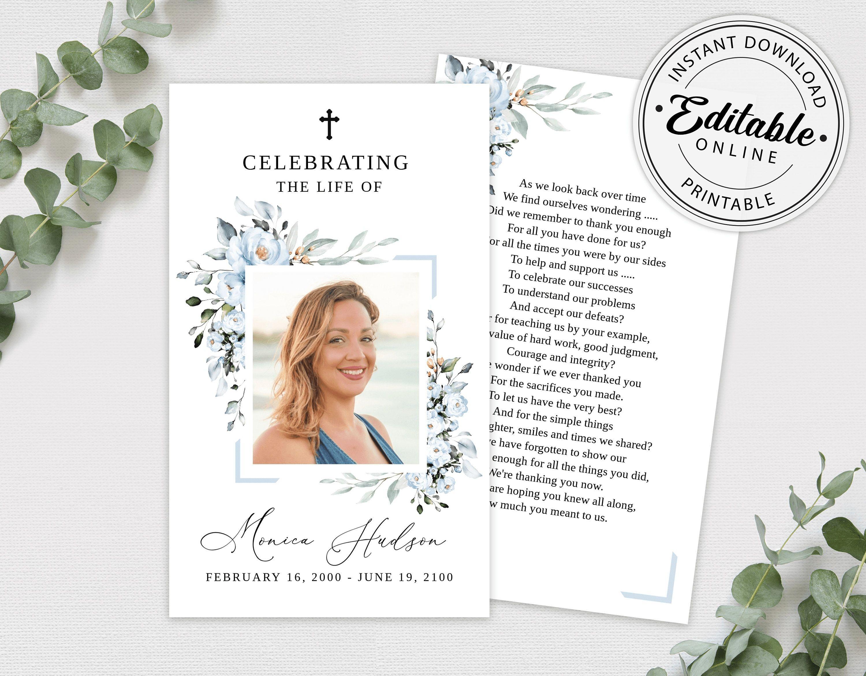 Editable Funeral Prayer Card Template Printable Memorial Etsy Memorial Card Funeral Cards Funeral Prayer Cards
