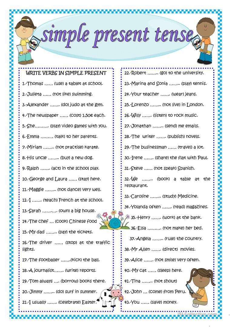 Worksheet On Simple Present Tense For Grade 4 in 2020
