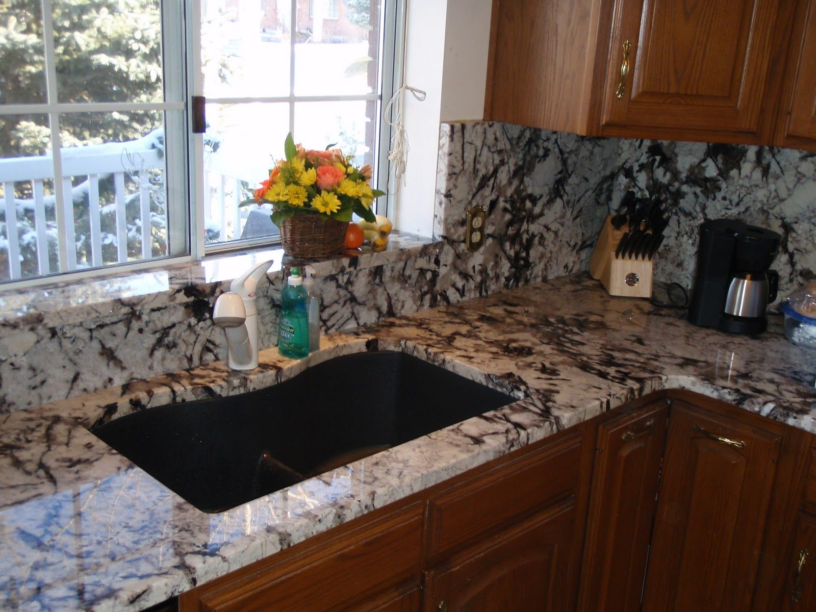 full height granite backsplash- Persian Pearl/ Lumi White/ Serra ...