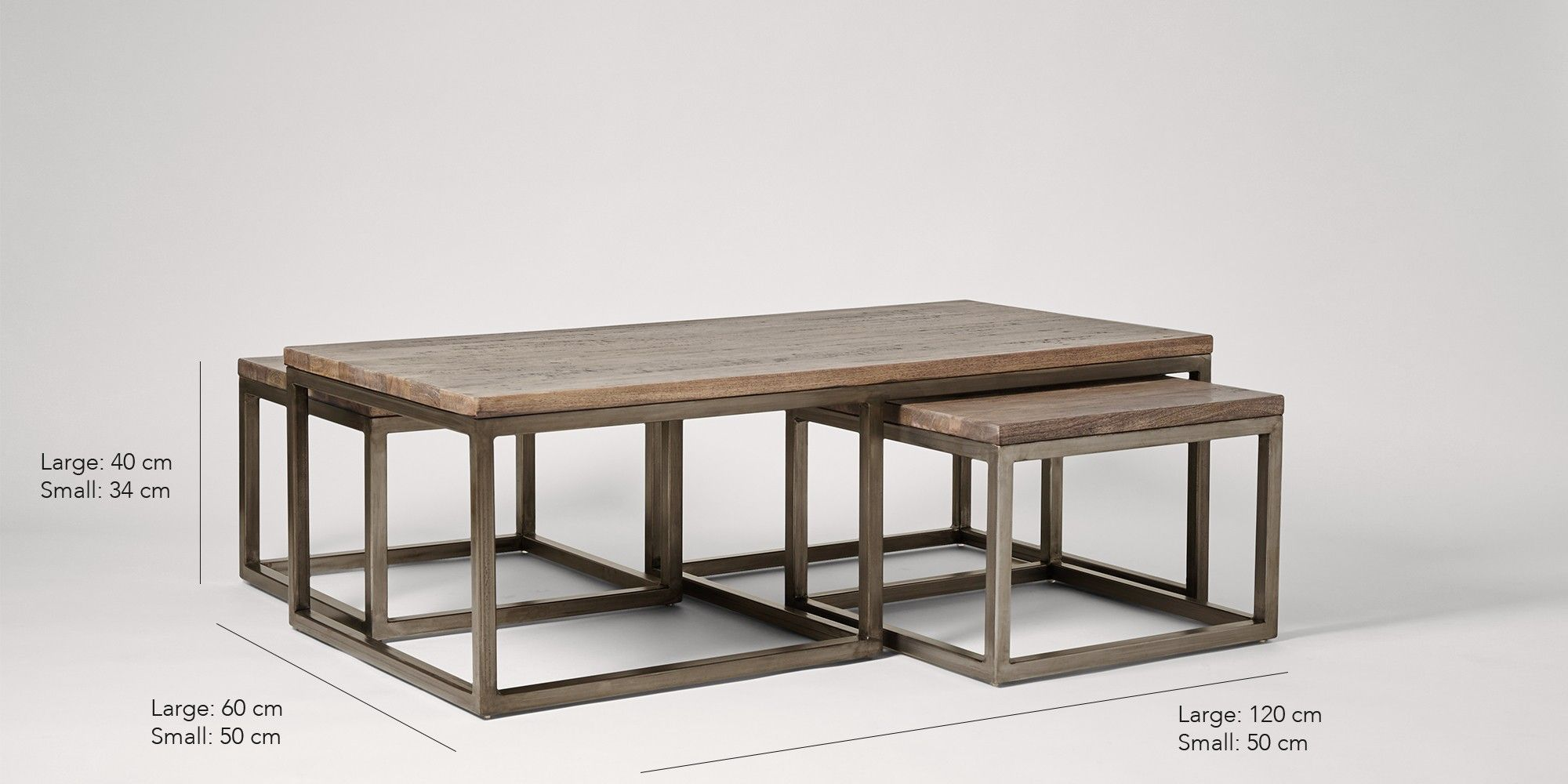 Best Swoon Editions Coffee Table Set Industrial Style In Mango 640 x 480