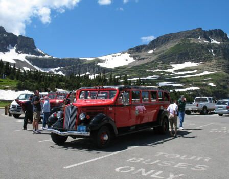 Tour through Glacier National Park over Going-to-the-Sun Road in an antique tour buss,  http://www.glaciernationalpark.name/attractions.html
