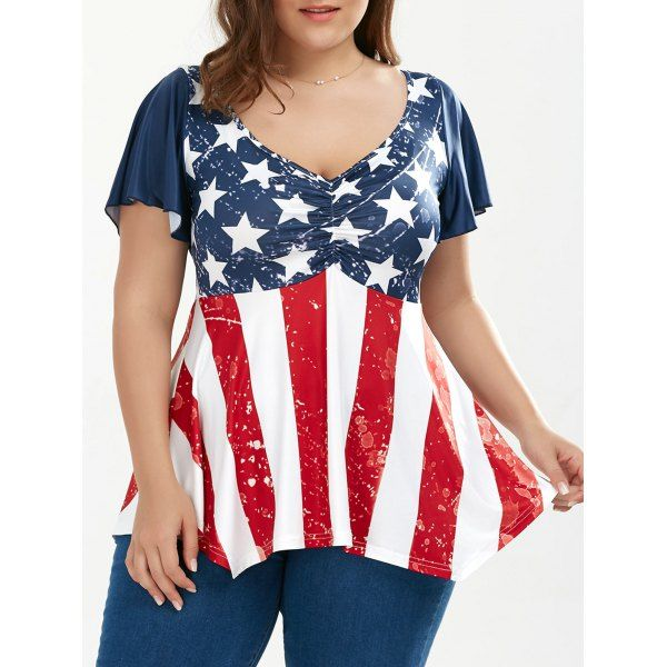 4e97a035236  12.88 Ruched Plus Size Patriotic Tunic American Flag Top