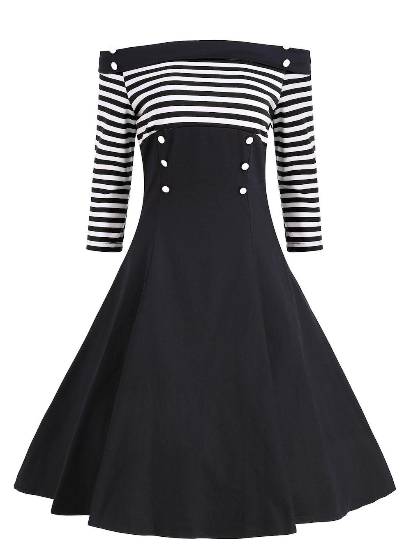 Buttons Striped Off The Shoulder Vintage Dress Vintage Dresses Cheap Vintage Clothing Vintage Black Dress