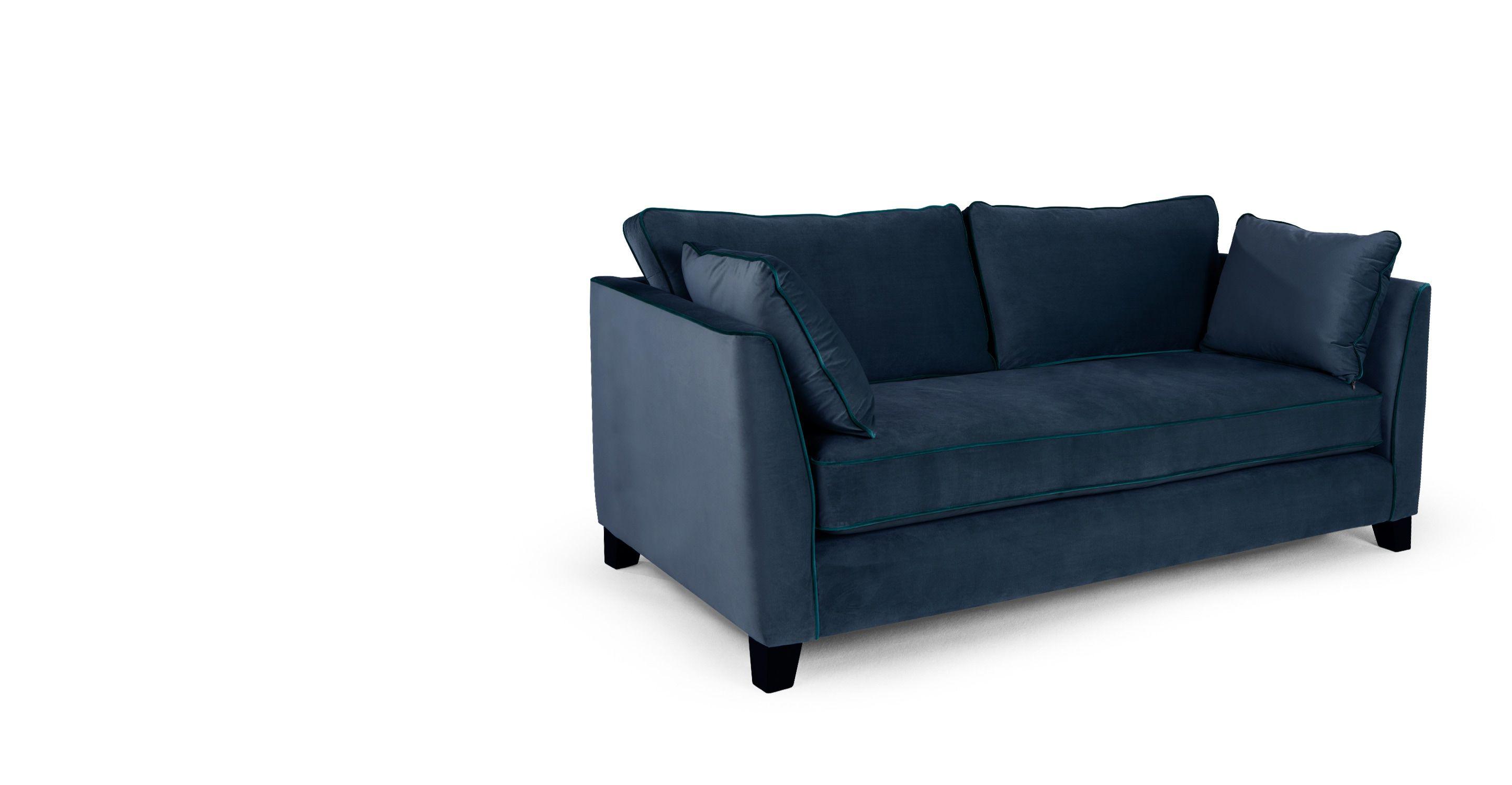 Wolseley un canapé 3 places velours bleu marine