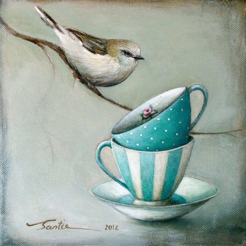 A Little Bird Told Me By Santie Cronje English Tea Cups Bird Blue Green Schilderijen Ideeën Prachtige Schilderijen Painting