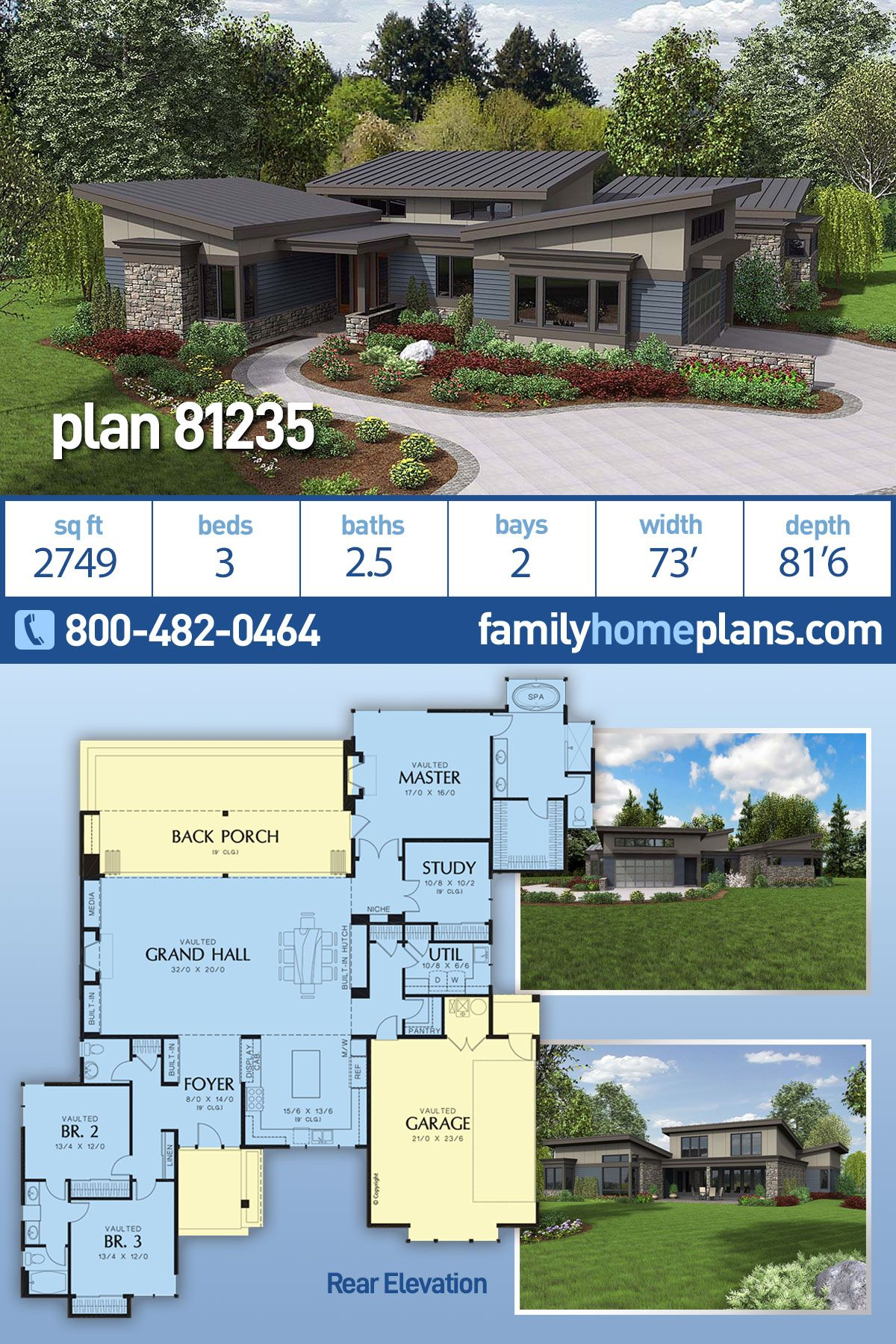 Modern Style House Plan 81235 With 3 Bed 3 Bath 2 Car Garage Modern Style House Plans House Plans Garage House Plans