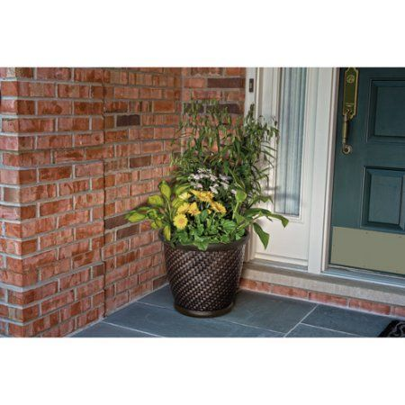 5c1ce235abbccec06f47532a90e7054f - Better Homes And Gardens 18 Weathered Lattice Planter Chocolate