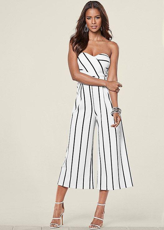 852e103989 Venus Women s Stripe Jumpsuit Jumpsuits   Rompers - Black white