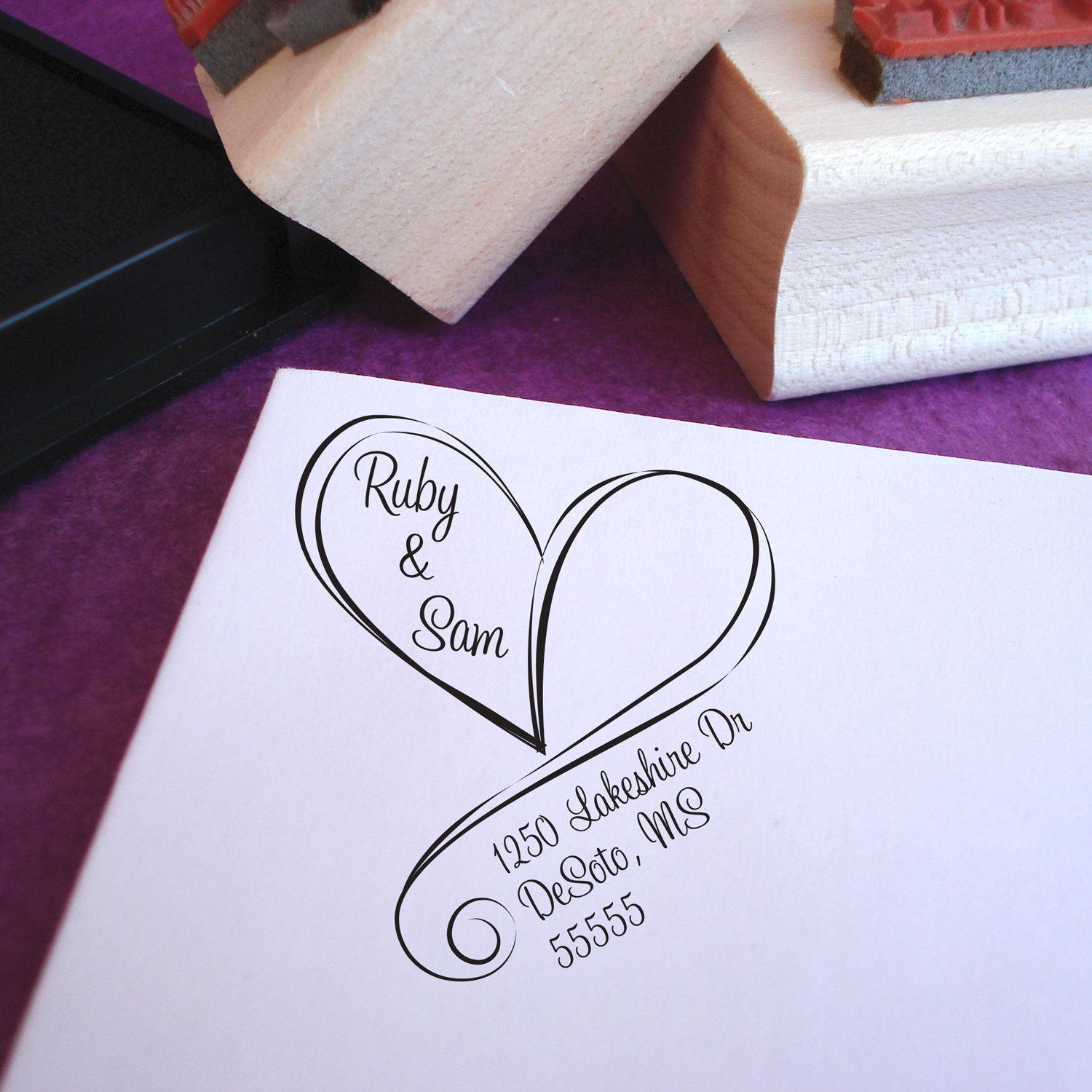 wedding return address stamp free shipping swirly heart