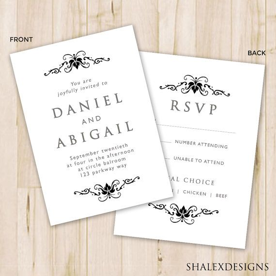 For A Simple And Elegant Wedding Download This Black White Wedding Invi Wedding Invitation Card Template Elegant Wedding Invitation Card Invitation Template