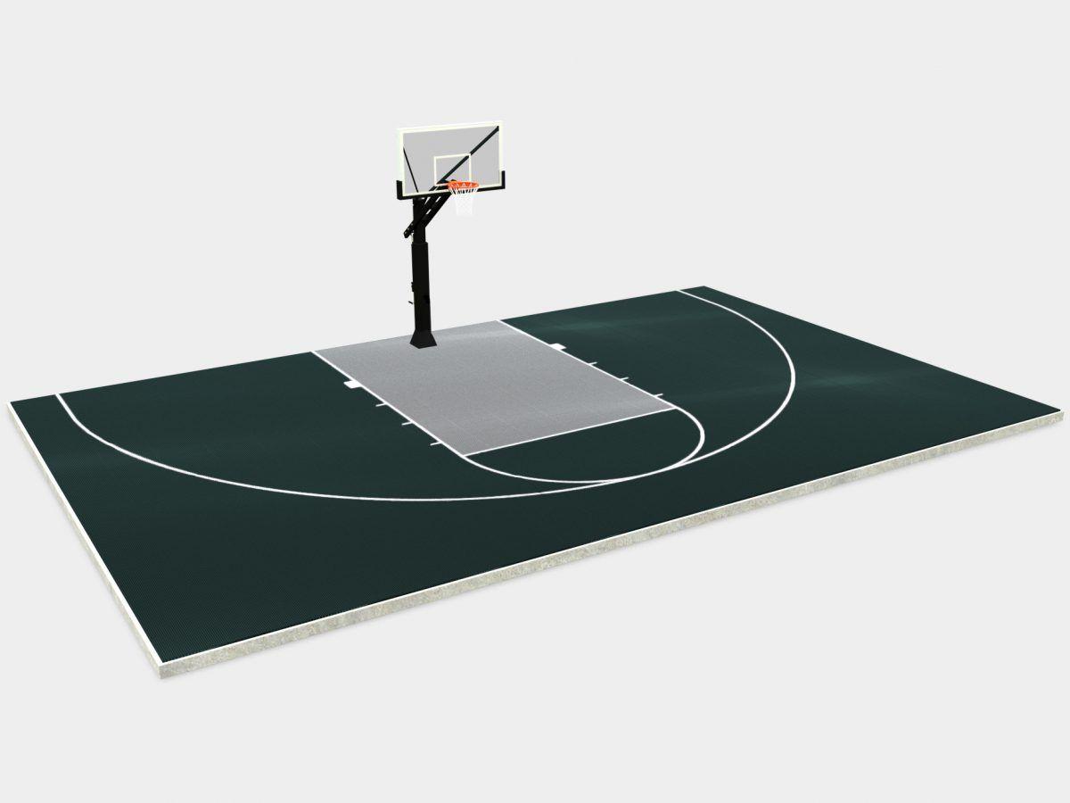 44 X 28 Basketball Half Court Dunkstar Diy Backyard Courts In 2020 Backyard Court Basketball Court Backyard Diy Backyard