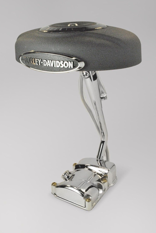 kickstand lamp made from recycled harley davidson parts. $250,00