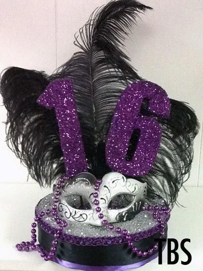 Sweet 16 Masquerade Centerpiece with Glitter Numbers