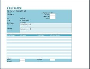 Bill Of Lading Template  Microsoft Templates