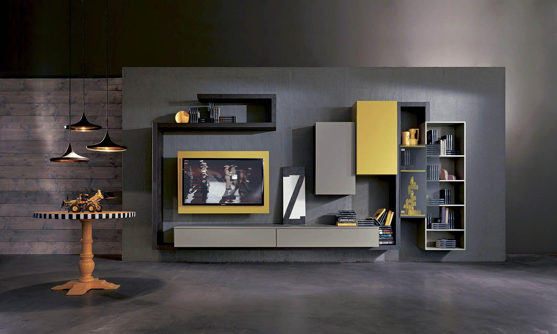 Moderne Wohnzimmer Einrichtung Mit TV Wandpaneel In Grau Und Gelb