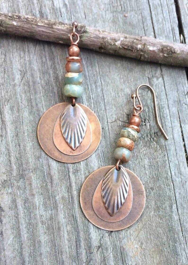 Photo of Copper Dangle Earrings, African Opal Earrings, Copper Leaf Earrings, Autumn Jewelry, Blue Aqua Stone Jewelry, Leaf Jewelry