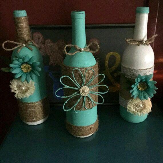 15 ideas para decorar botellas usando yute e hilo r stico for Ideas para decorar botellas