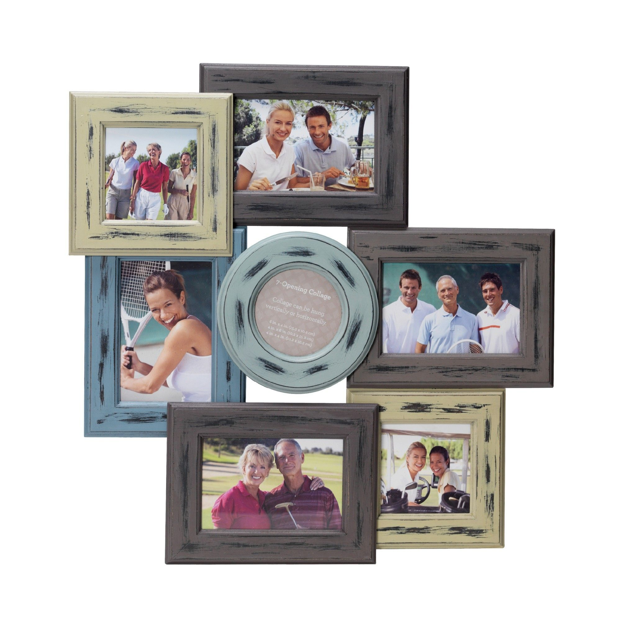 7 Opening Distressed Wood Collage Frame Products