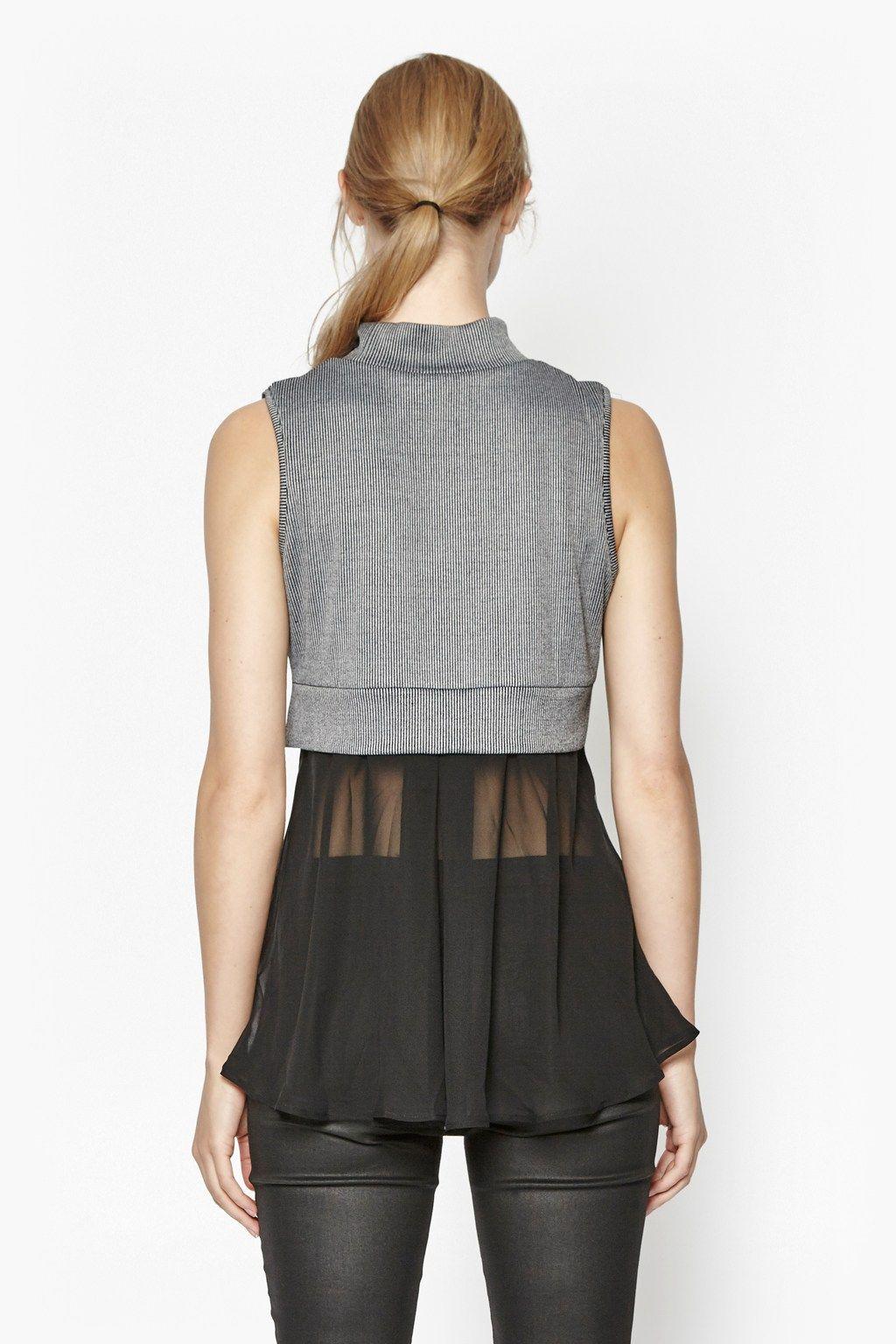 "<ul> <li> Layered high neck top</li> <li> Ribbed-knit body</li> <li> Semi-sheer chiffon hem and back panel</li> <li> Slips on</li> <li> UK size S back length is 69cm</li> </ul>  <strong>Our model is 5ft 9.5"" and is wearing a UK size S.</strong>"