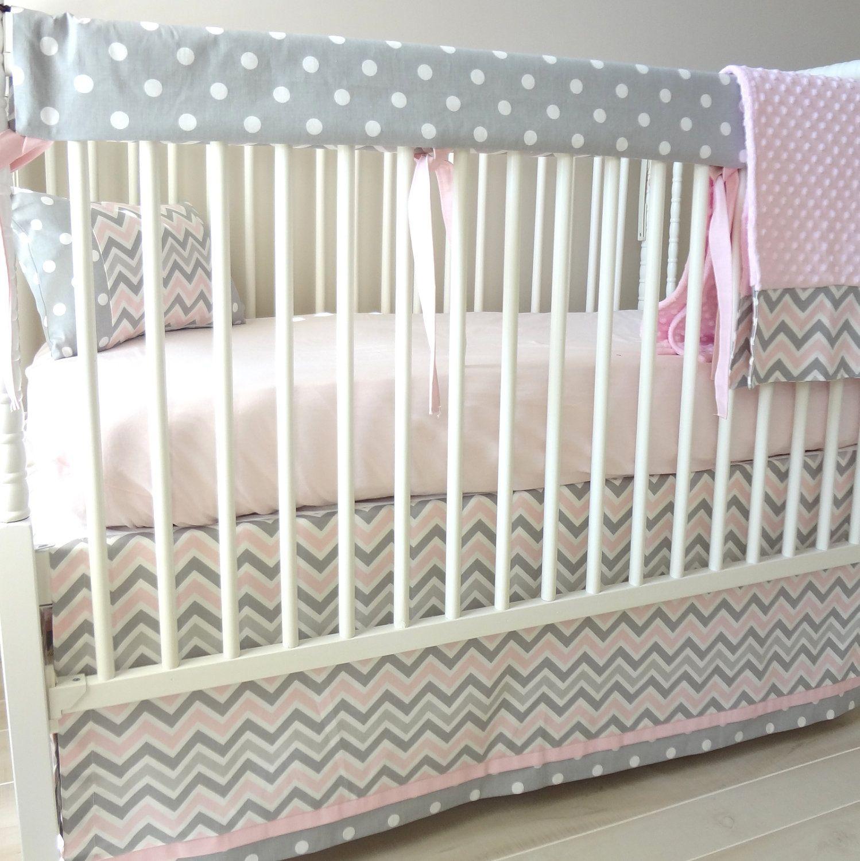 Pink And Grey Zoom Bumperless Crib Rail Bedding Set Pinterest
