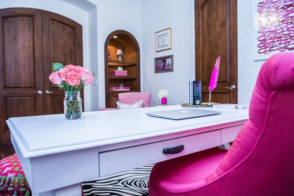 Stylish Colorful Kitchen Cabinet Design Ideas Hgtv Pink Home Offices Pink Office Decor Boho Interior Design
