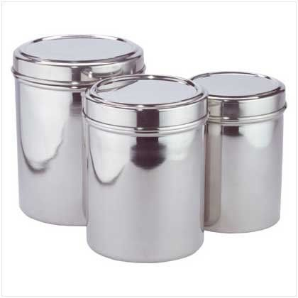 Stainless Steel Kitchen Storage Canisters Set Of Three by Furniture