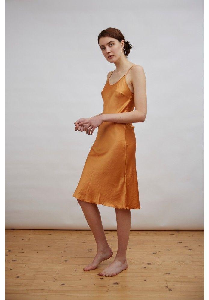 15ef112f575 Cloe Cassandro Slip Dress in Goldenrod Yellow Silk - Ethical clothing