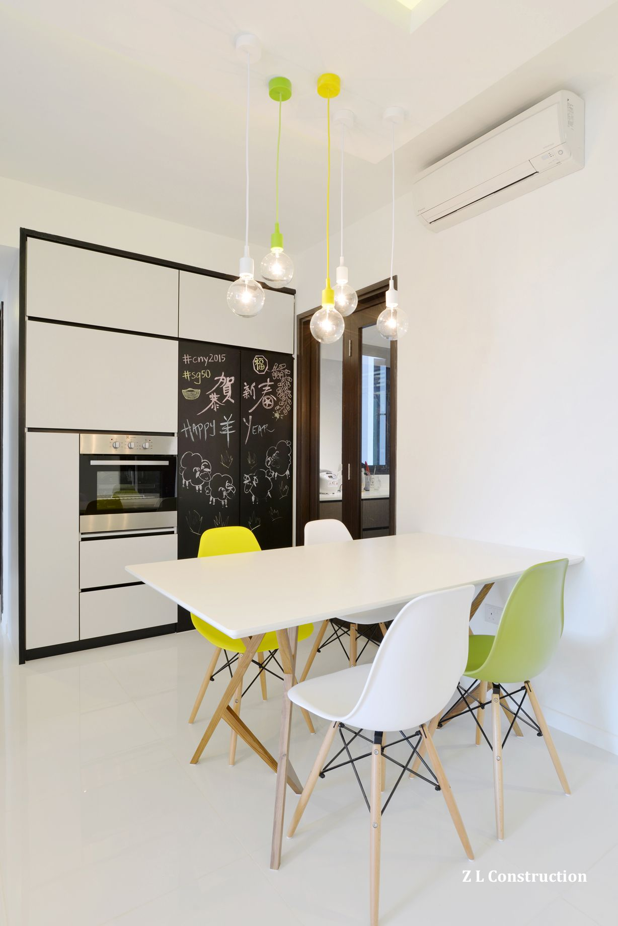 Z L Construction (Singapore) \\ Dry Kitchen Cabinets With White Door Panels  Against Black