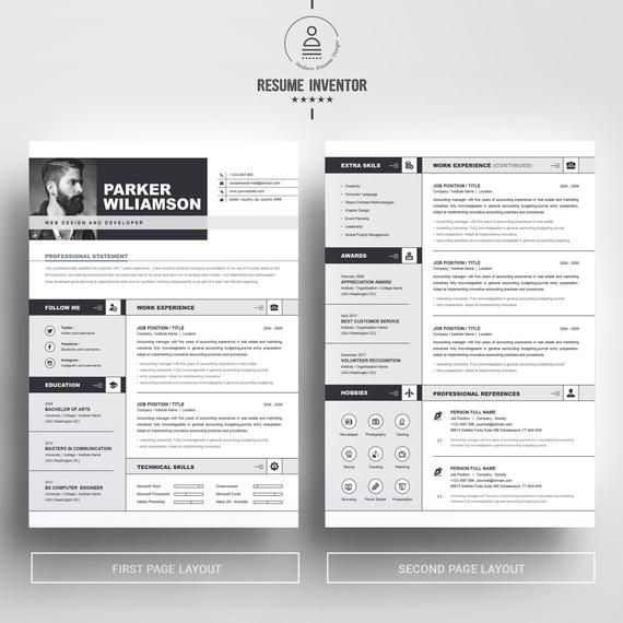 2 page ms word clean professional  u0026 modern resume design
