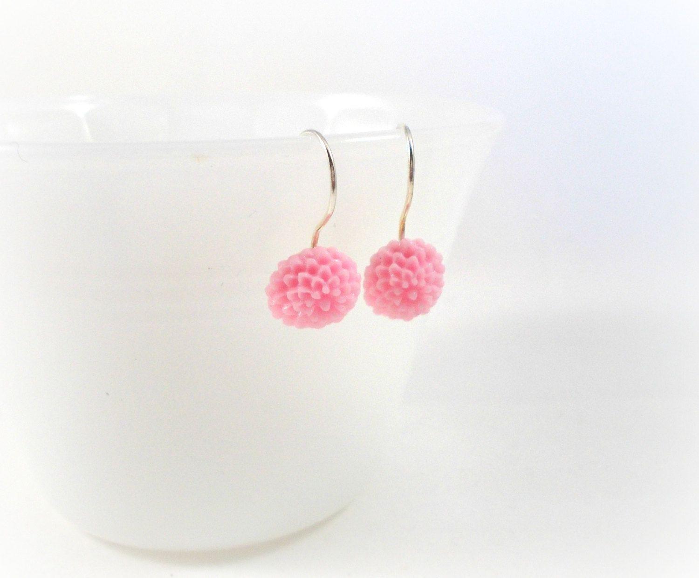 Pink Flower Earrings Simple Earring Tween Jewelry Pretty Gift Ideas For S By Foreverandrea On Etsy